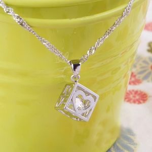 Jewelry - Floating Crystal Heart Cube Sterling Necklace